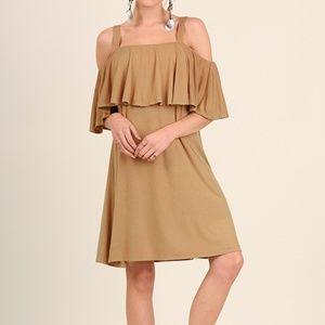 NWT Umgee Open Shoulder Dress w/ Ruffled Layer